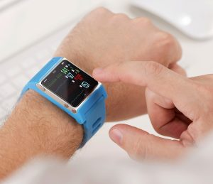 Smart watch on male hand with new unread message